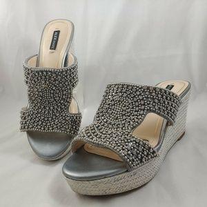 ALEX MARIE Wedge Sandals GIRLS Silver Rhinestones
